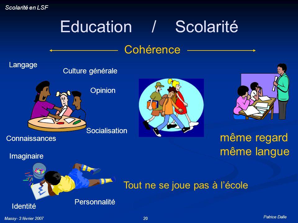Patrice Dalle Massy- 3 février 200720 Education / Scolarité Connaissances Opinion Langage Culture générale Identité Socialisation Imaginaire Personnal