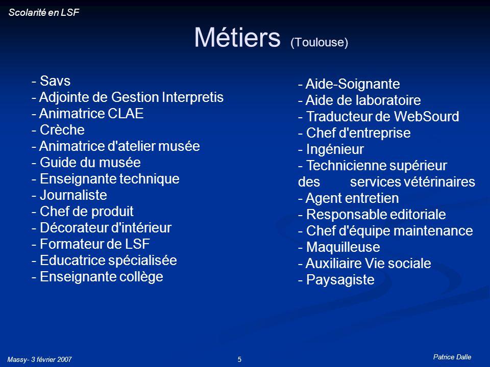 Patrice Dalle Massy- 3 février 20075 Métiers (Toulouse) Scolarité en LSF - Savs - Adjointe de Gestion Interpretis - Animatrice CLAE - Crèche - Animatr