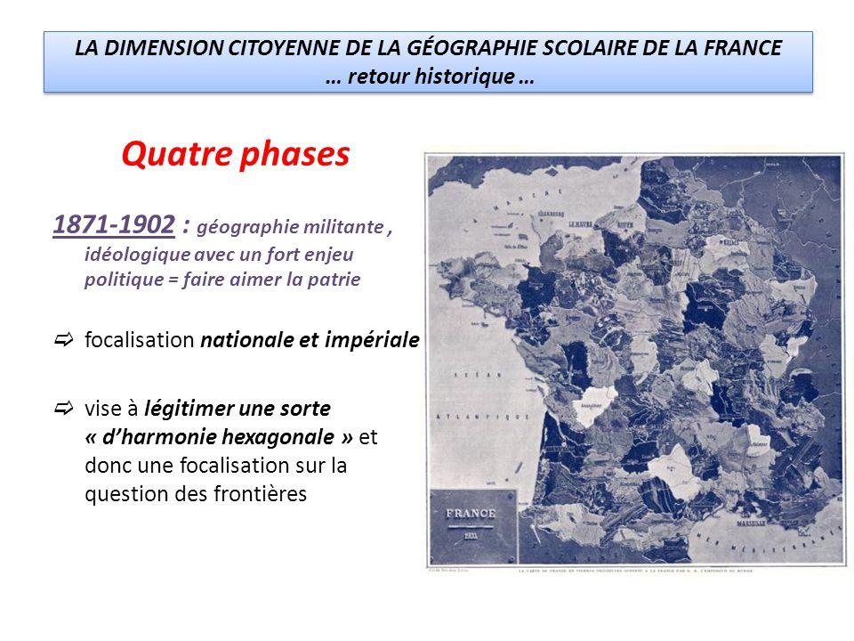 LA DIMENSION CITOYENNE DE LA GÉOGRAPHIE SCOLAIRE DE LA FRANCE … retour historique … LA DIMENSION CITOYENNE DE LA GÉOGRAPHIE SCOLAIRE DE LA FRANCE … retour historique … Quatre phases 1871-1902 : géographie militante, idéologique avec un fort enjeu politique = faire aimer la patrie focalisation nationale et impériale vise à légitimer une sorte « dharmonie hexagonale » et donc une focalisation sur la question des frontières