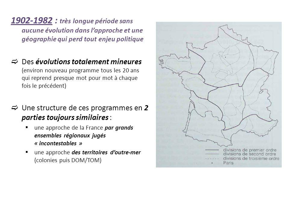 A partir de 1982 : retour dune géographie à forts enjeux politiques et axée sur léducation à la citoyenneté accélération de la publication de programmes (5 programmes en 20 ans) 1982 = Installation dune réflexion sur la notion de région (les ensembles régionaux ne sont pas si faciles à définir que ne le laissait à penser les programmes précédents) et introduction timide de létude de lEurope