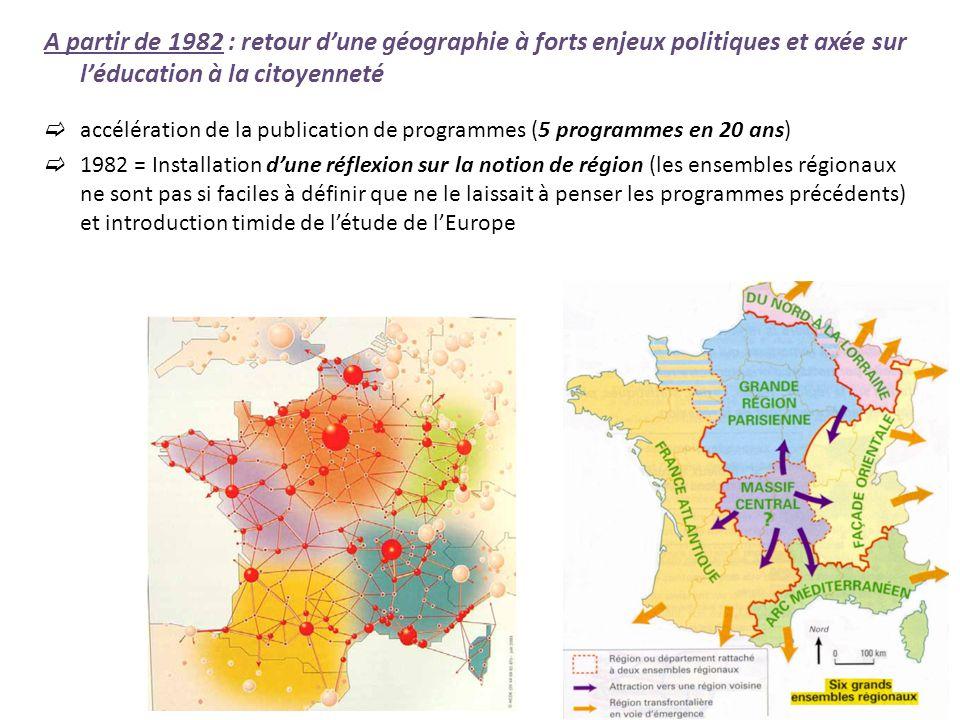 1988 = introduction de la notion daménagement du territoire 1997 et 2002 = Insertion de létude de la France dans celle de lEurope 2007 = relecture des programmes qui introduit la problématique des territoires puis des « nouveaux territoires »
