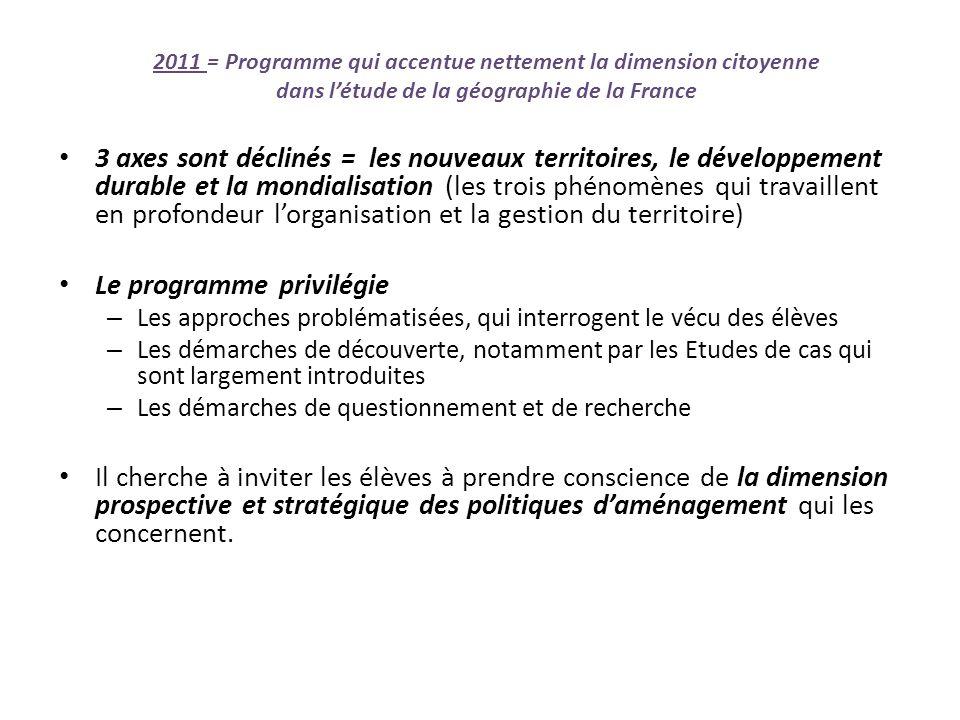 2011 = Programme qui accentue nettement la dimension citoyenne dans létude de la géographie de la France 3 axes sont déclinés = les nouveaux territoir
