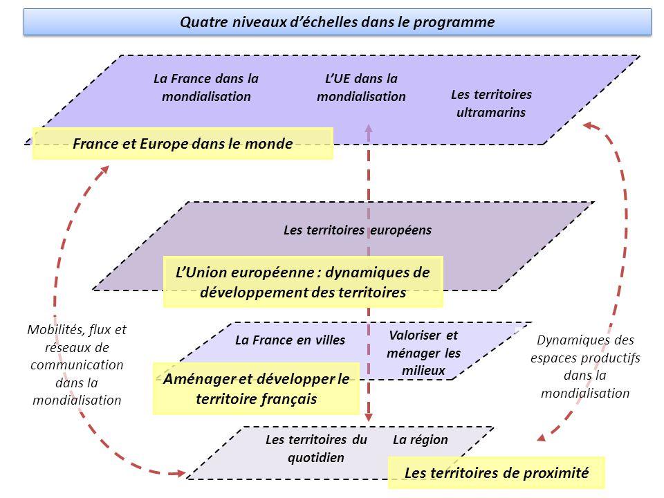 France et Europe dans le monde La France dans la mondialisation LUE dans la mondialisation Les territoires de proximité Aménager et développer le terr
