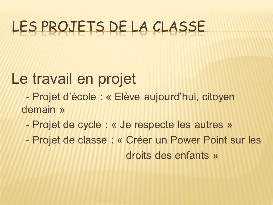 Le travail en projet - Projet décole : « Elève aujourdhui, citoyen demain » - Projet de cycle : « Je respecte les autres » - Projet de classe : « Créer un Power Point sur les droits des enfants »