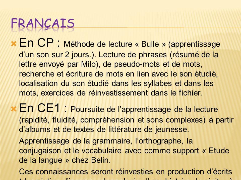 En CP : Méthode de lecture « Bulle » (apprentissage dun son sur 2 jours.).