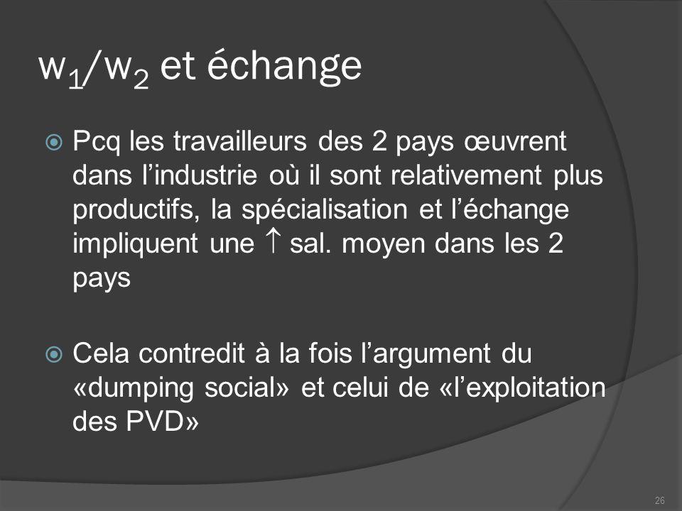 w 1 /w 2 et échange Pcq les travailleurs des 2 pays œuvrent dans lindustrie où il sont relativement plus productifs, la spécialisation et léchange impliquent une sal.