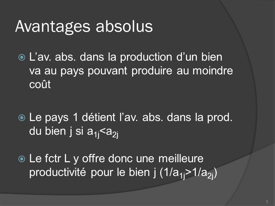 Avantages absolus Lav. abs.