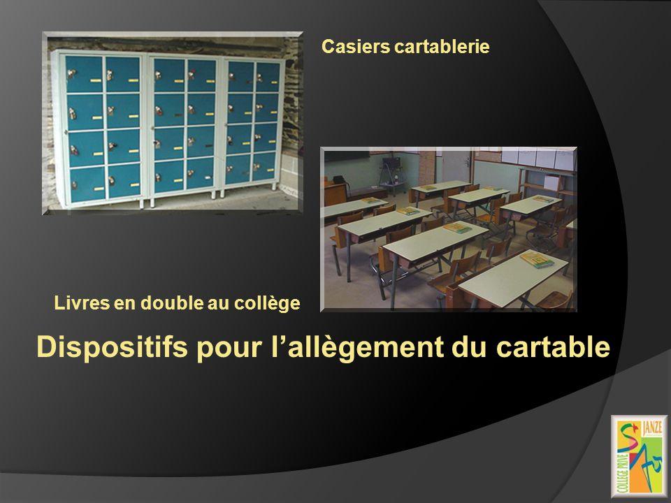 Dispositifs pour lallègement du cartable Casiers cartablerie Livres en double au collège