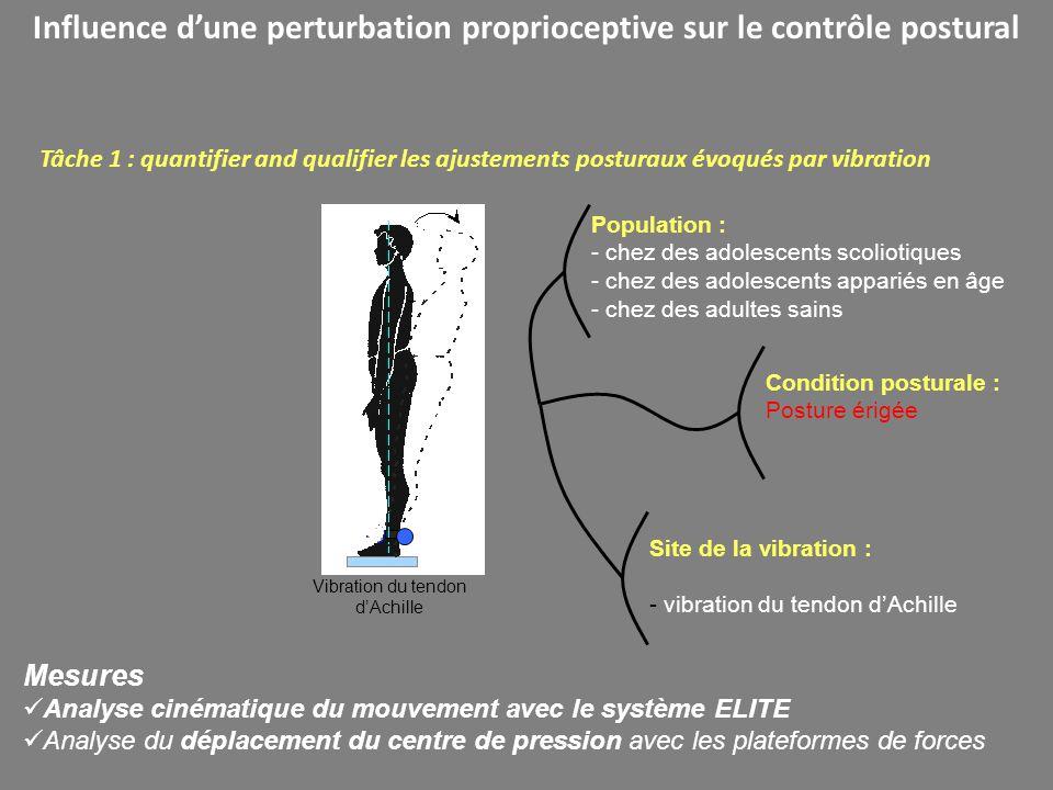 Influence dune perturbation proprioceptive sur le contrôle postural Vibration du tendon dAchille Tâche 1 : quantifier and qualifier les ajustements po