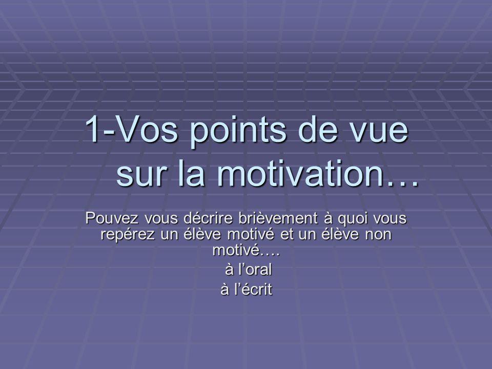 1-Vos points de vue sur la motivation… Pouvez vous décrire brièvement à quoi vous repérez un élève motivé et un élève non motivé….