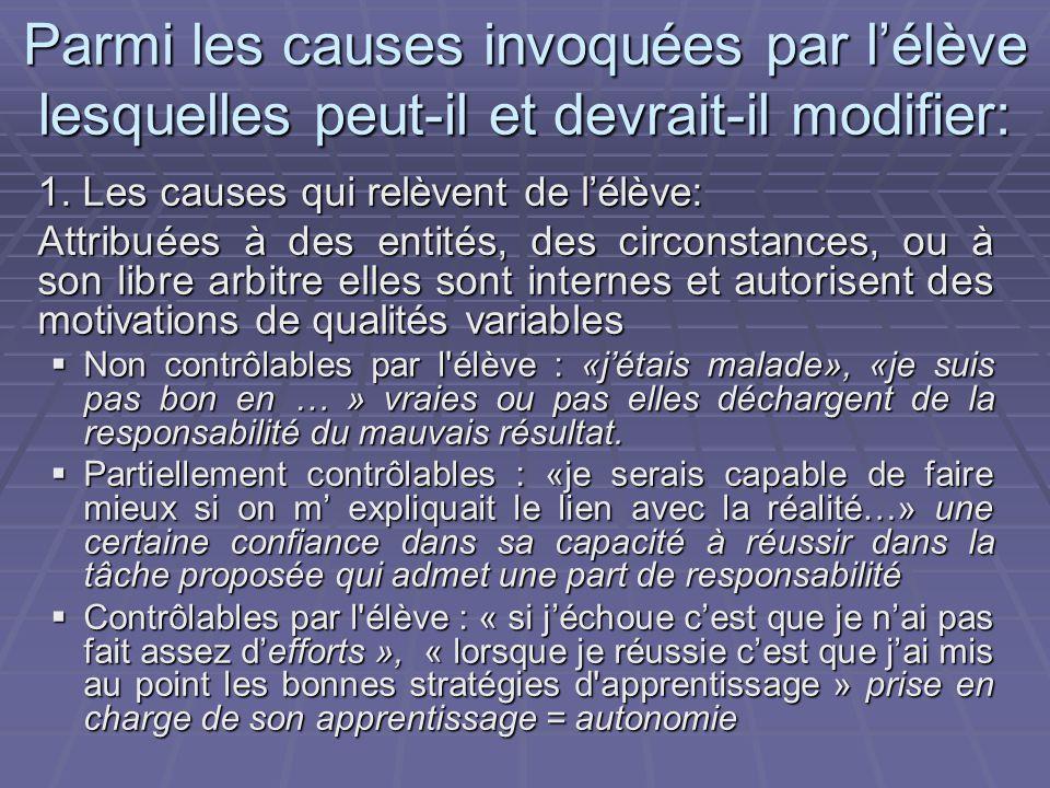 Parmi les causes invoquées par lélève lesquelles peut-il et devrait-il modifier: 1.