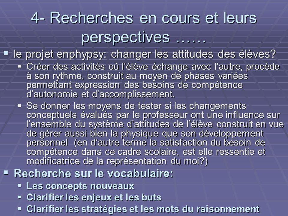 4- Recherches en cours et leurs perspectives …… le projet enphypsy: changer les attitudes des élèves.