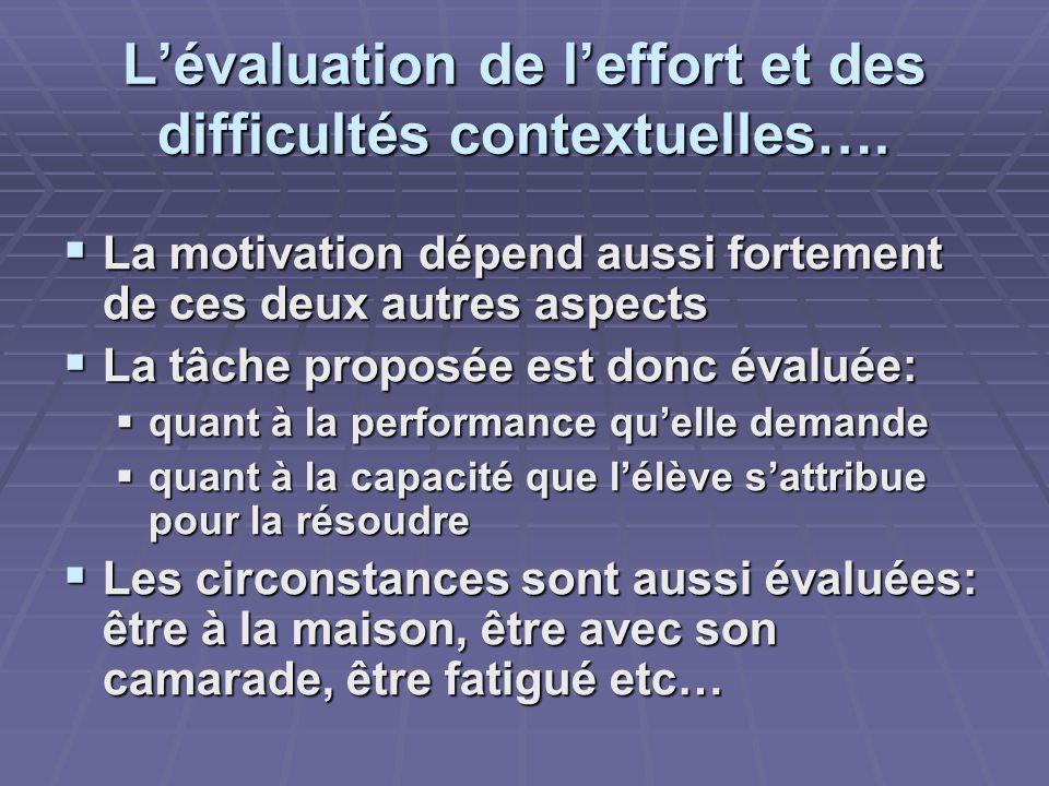 Lévaluation de leffort et des difficultés contextuelles….
