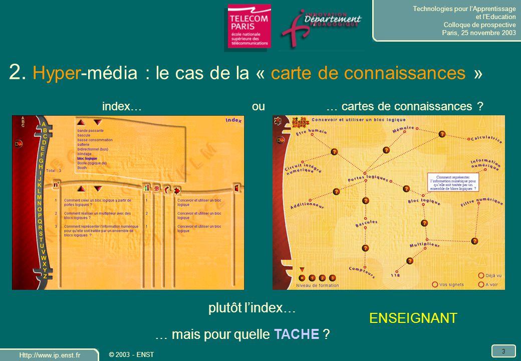 Technologies pour lApprentissage et lEducation Colloque de prospective Paris, 25 novembre 2003 Http://www.ip.enst.fr 4 © 2003 - ENST 2.