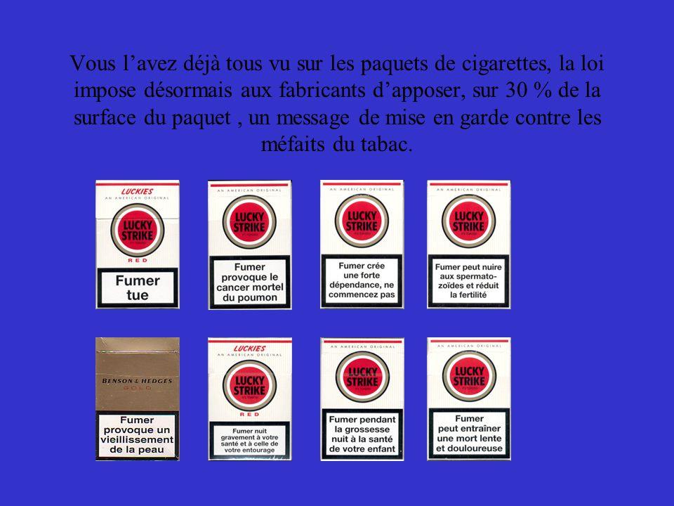 Vous lavez déjà tous vu sur les paquets de cigarettes, la loi impose désormais aux fabricants dapposer, sur 30 % de la surface du paquet, un message de mise en garde contre les méfaits du tabac.
