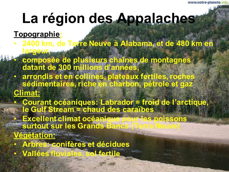 Les régions de lAmérique du Nord 1.La région des Appalaches 2.Les plaines côtières 3.La vallée des grands lacs et du Saint-Laurent 4.Les plaines intér