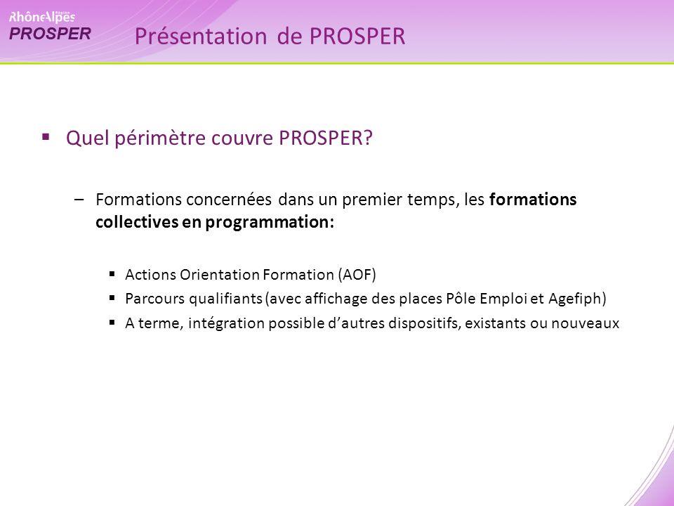Présentation de PROSPER Quel périmètre couvre PROSPER.