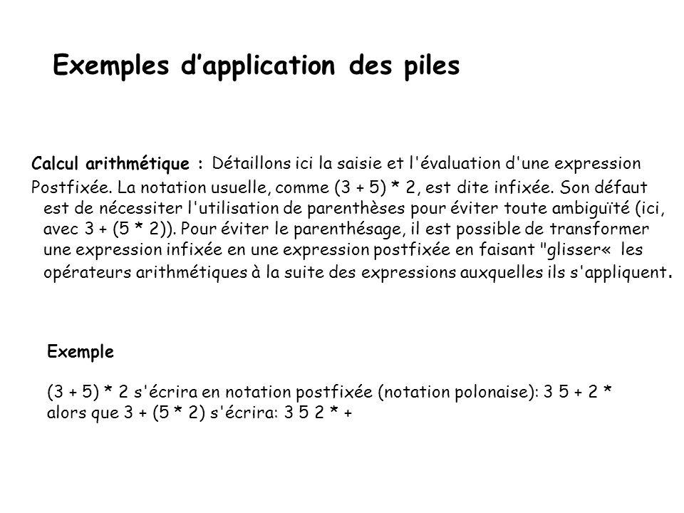 Exemples dapplication des piles Calcul arithmétique : Une application courante des piles se fait dans le calcul arithmétique: l ordre dans la pile permet d éviter l usage des parenthèses.