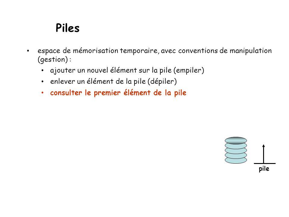 Piles espace de mémorisation temporaire, avec conventions de manipulation (gestion) : ajouter un nouvel élément sur la pile (empiler) enlever un élément de la pile (dépiler) out pile