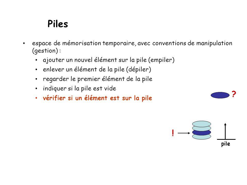 Piles espace de mémorisation temporaire, avec conventions de manipulation (gestion) : ajouter un nouvel élément sur la pile (empiler) enlever un élément de la pile (dépiler) regarder le premier élément de la pile indiquer si la pile est vide vérifier si un élément est sur la pile pile ?