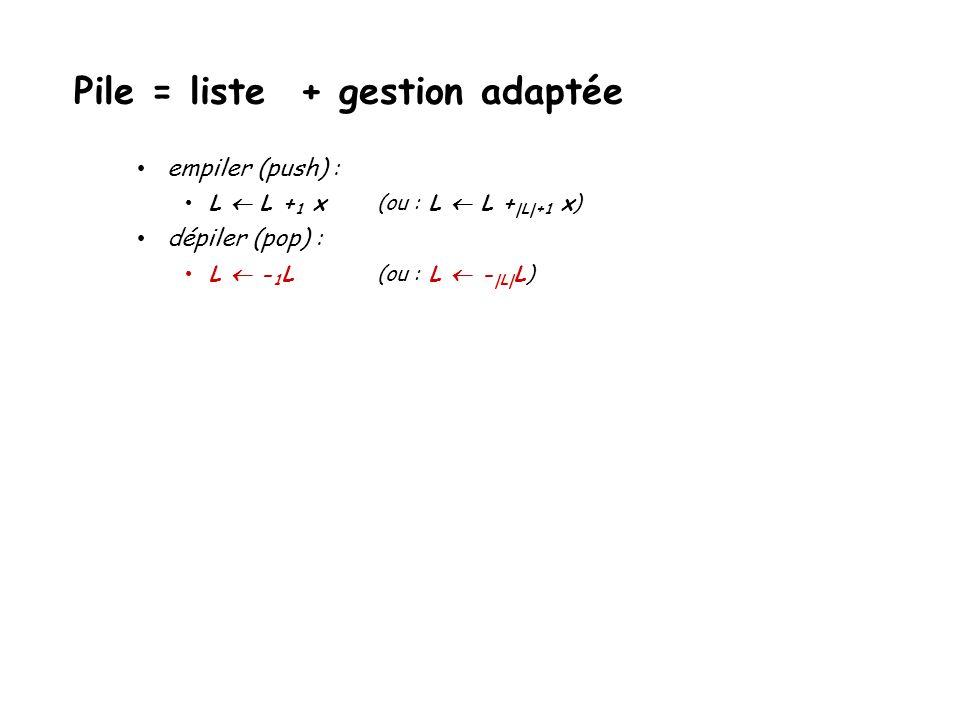 empiler (push) : L L + 1 x(ou : L L +  L +1 x) dépiler (pop) : Pile = liste + gestion adaptée