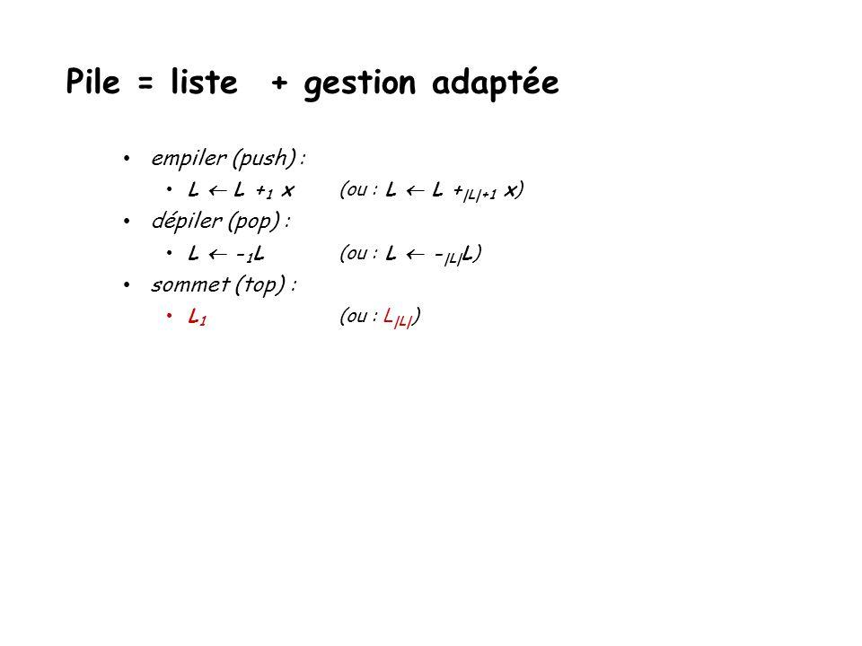 empiler (push) : L L + 1 x(ou : L L +  L +1 x) dépiler (pop) : L - 1 L(ou : L -  L  L) sommet (top) : Pile = liste + gestion adaptée