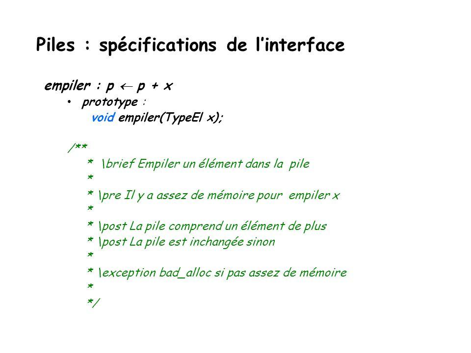 empiler (push) : L L + 1 x(ou : L L +  L +1 x) dépiler (pop) : L - 1 L(ou : L -  L  L) sommet (top) : L 1 (ou : L  L  ) pile vide .