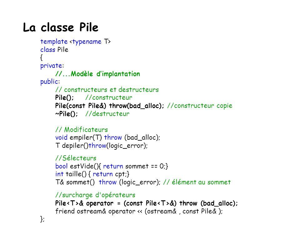 remplacement : p p - x/y prototype : void remplacer(TypeEl x, TypeEl y); /** * \brief Remplacer un élément dans la pile * * \pre x appartient à la pile * *\post Le premier x trouvé (en débutant au sommet) est remplacé par y *\post La pile est inchangée sinon * *\exception logic_error si pas dans la pile * */ Piles : spécifications de linterface