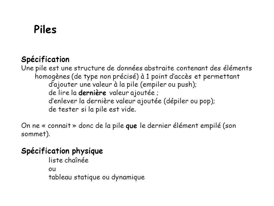 Piles : implantation dans un tableau template <typename T> Pile<T> :: Pile (const Pile<T>& p) {tab=new X [p.maxtaille]; maxTaille=p.maxTaille; for (int i=0; i<maxTaille;i+=1) tab[i]=p.tab[i]; sommet=p.sommet; } Constructeur de copie