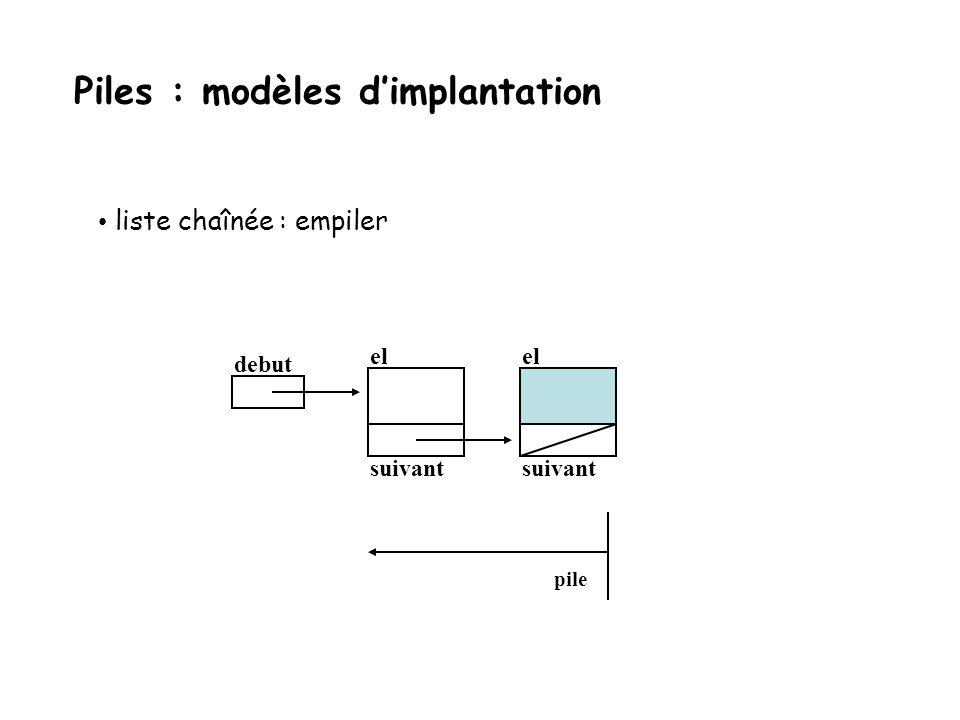 liste chaînée : empiler debut el suivant pile Piles : modèles dimplantation