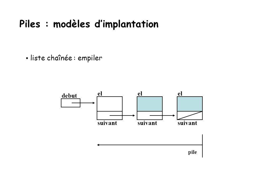 liste chaînée : empiler debut el suivant el suivant pile Piles : modèles dimplantation