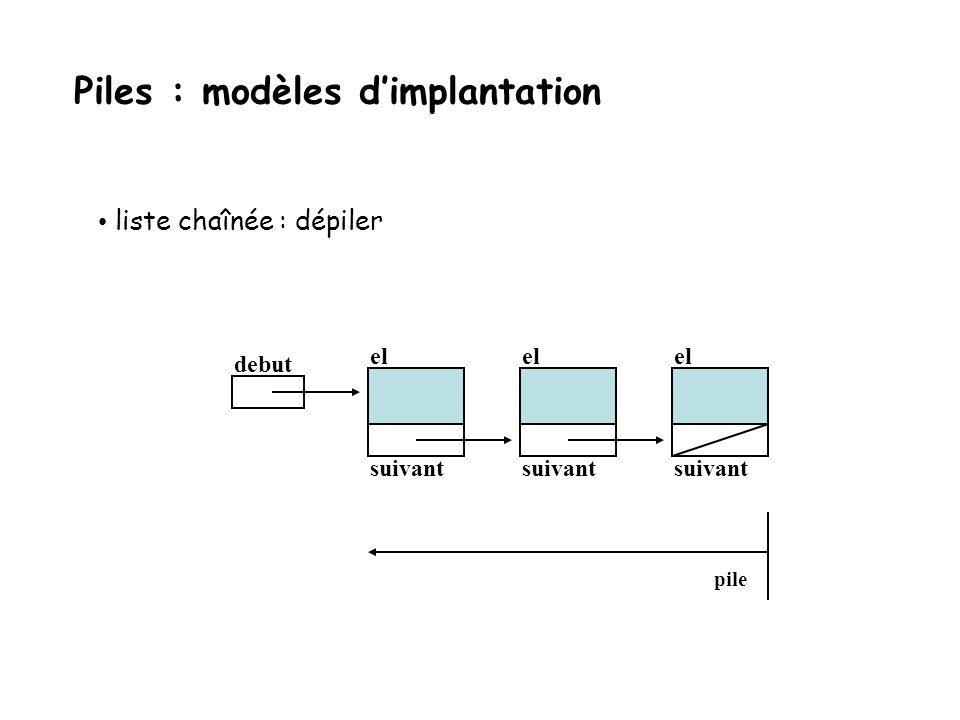 liste chaînée : empiler debut el suivant el suivant el suivant pile Piles : modèles dimplantation