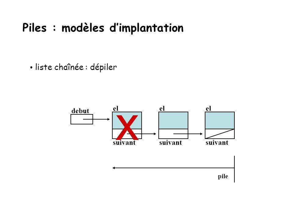 liste chaînée : dépiler debut el suivant el suivant el suivant pile Piles : modèles dimplantation