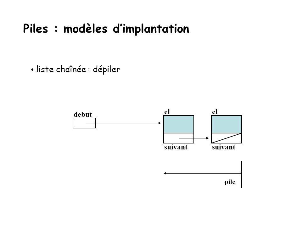 liste chaînée : dépiler debut el suivant el suivant el suivant pile x Piles : modèles dimplantation
