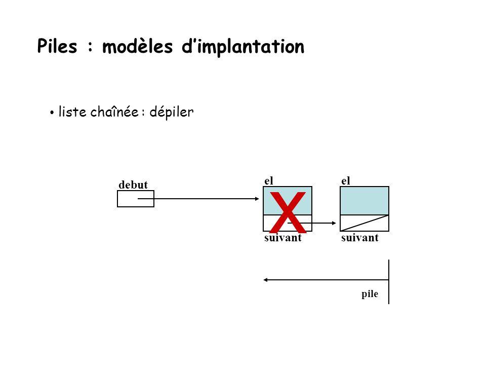 liste chaînée : dépiler debut el suivant el suivant pile Piles : modèles dimplantation