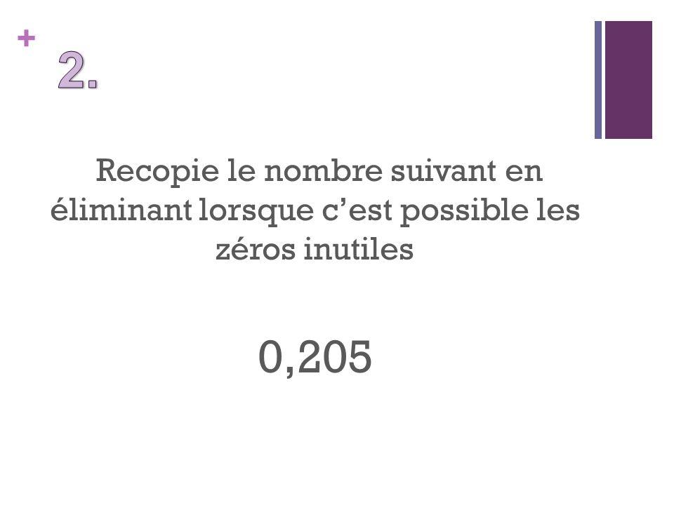 + Recopie le nombre suivant en éliminant lorsque cest possible les zéros inutiles 0,205