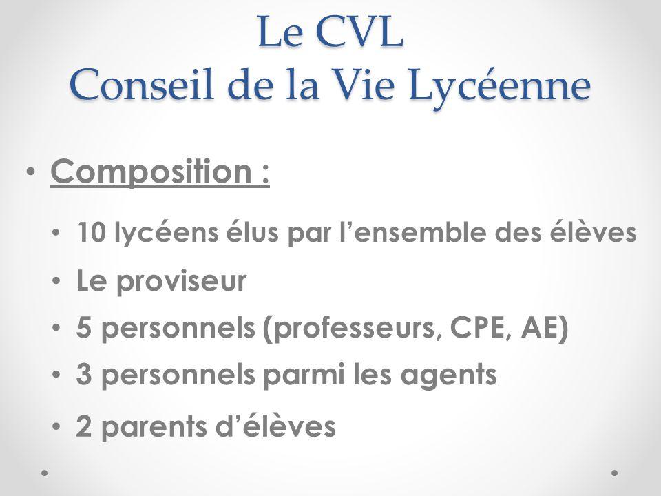 Le CVL Conseil de la Vie Lycéenne Composition : 10 lycéens élus par lensemble des élèves Le proviseur 5 personnels (professeurs, CPE, AE) 3 personnels