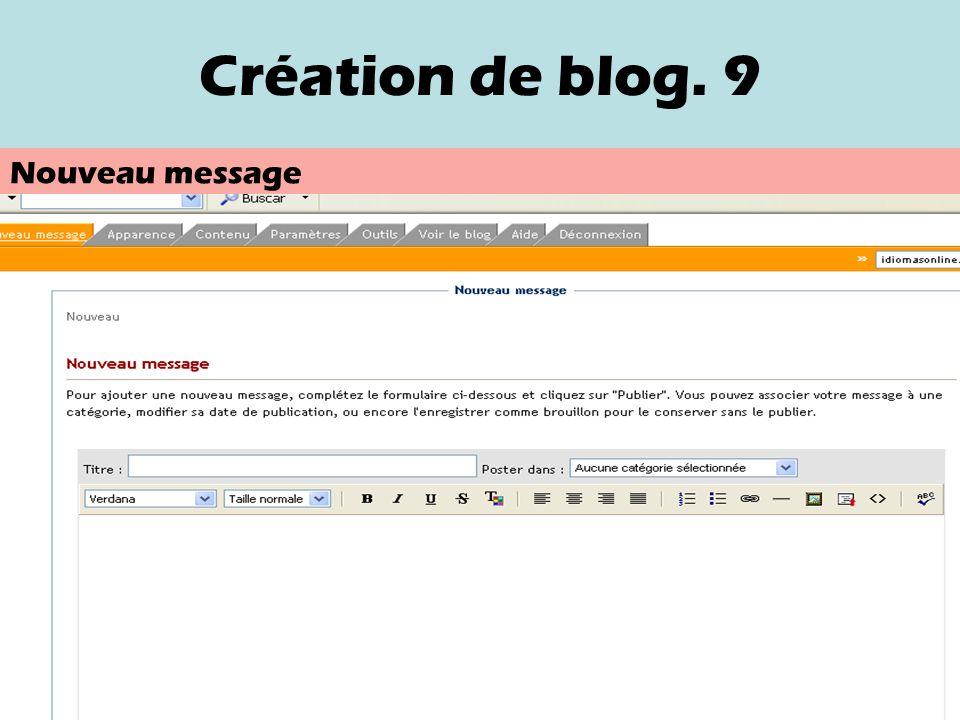 Création de blog. 8 Les catégories