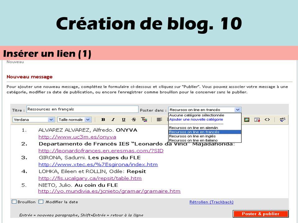 Création de blog. 9 Nouveau message