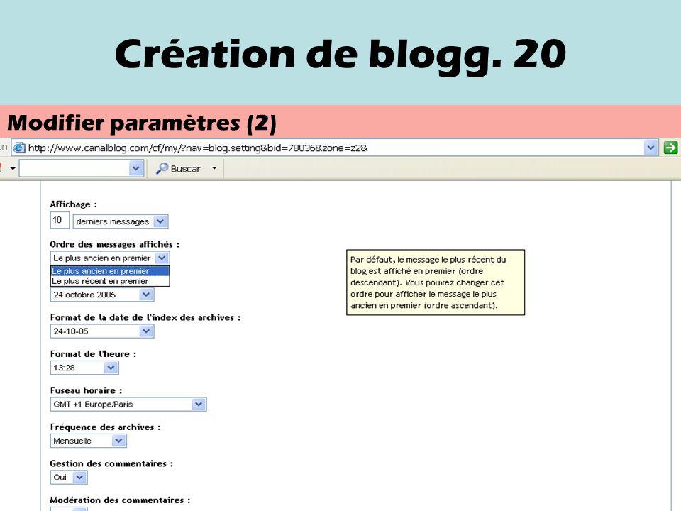 Création de blog. 19 Modifier paramètres (date et heure dun message) (1)