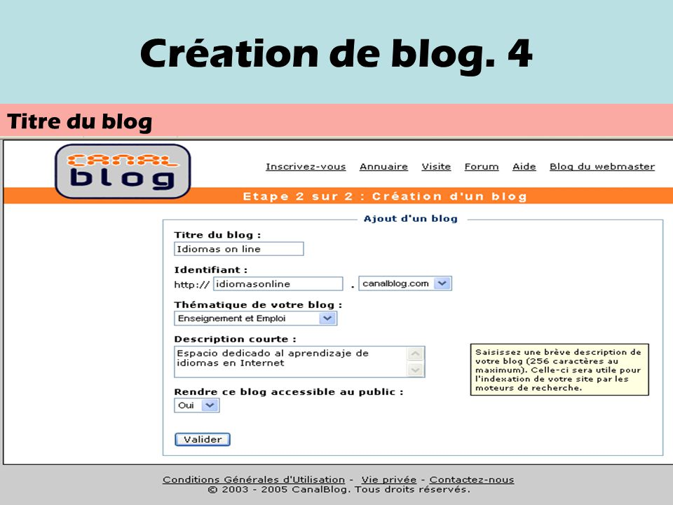Création de blog. 4 Titre du blog