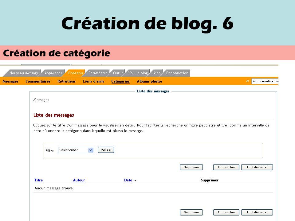 Création de blog. 5 Nouveau message