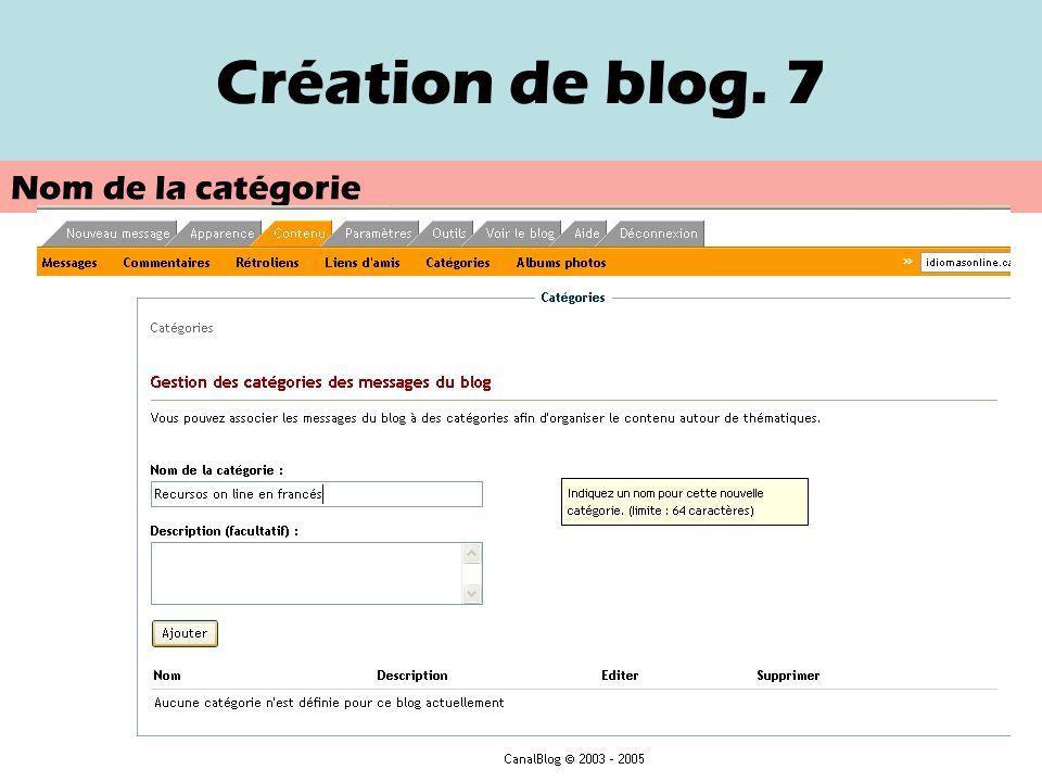 Création de blog. 6 Création de catégorie