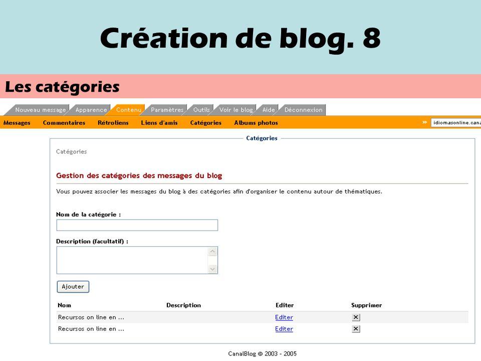 Création de blog. 7 Nom de la catégorie