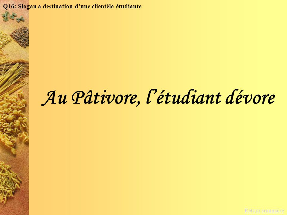Retour sommaire Au Pâtivore, létudiant dévore Q16: Slogan a destination dune clientèle étudiante