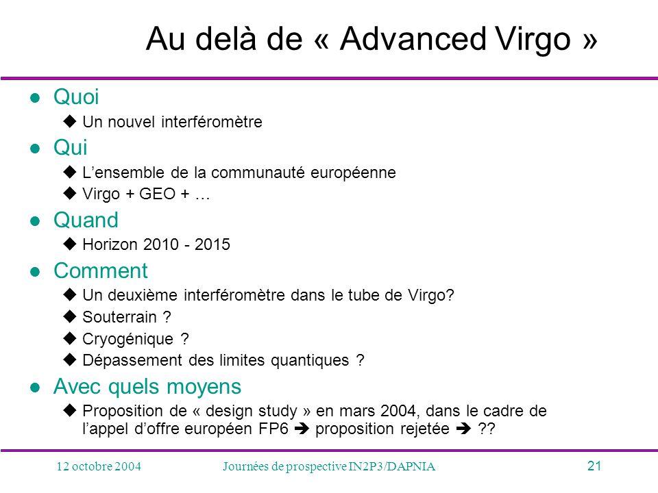 12 octobre 2004Journées de prospective IN2P3/DAPNIA21 Au delà de « Advanced Virgo » Quoi Un nouvel interféromètre Qui Lensemble de la communauté europ