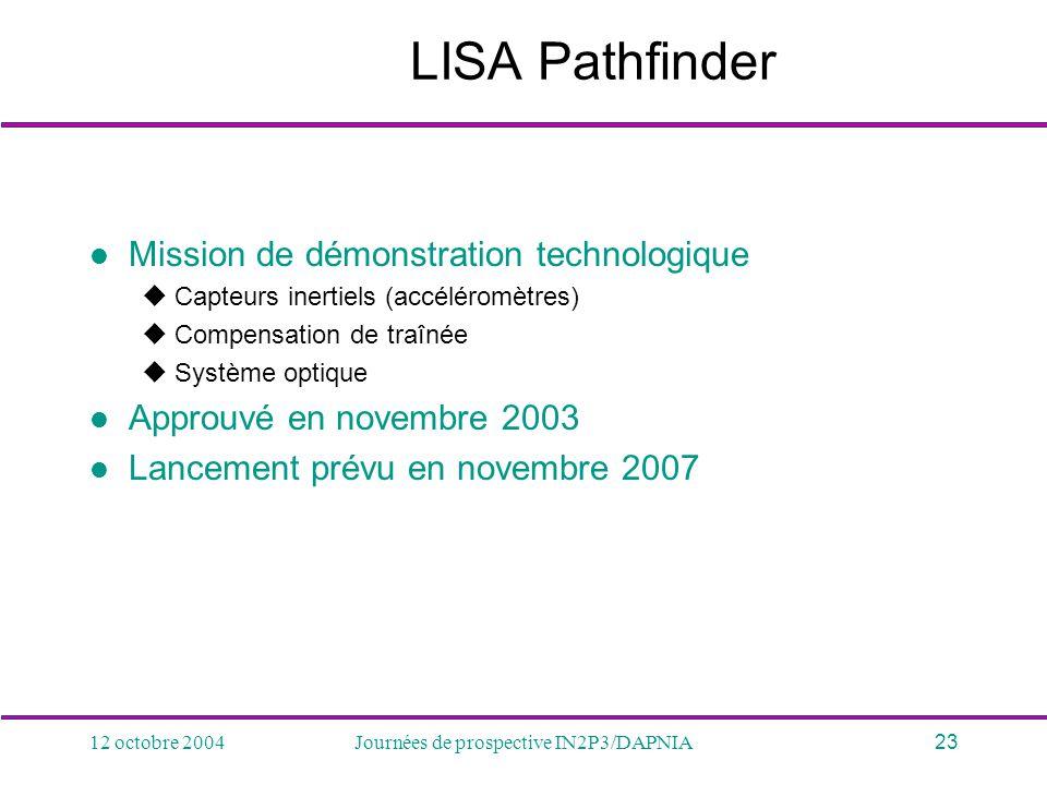 12 octobre 2004Journées de prospective IN2P3/DAPNIA23 LISA Pathfinder Mission de démonstration technologique Capteurs inertiels (accéléromètres) Compe