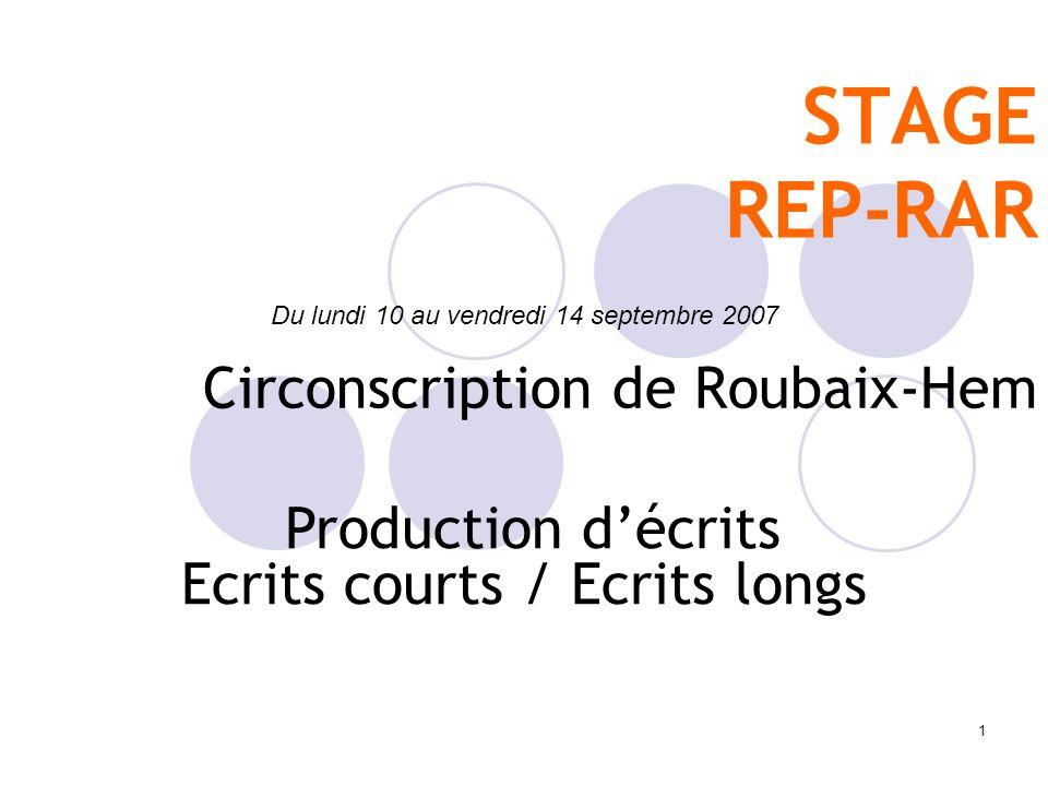 1 STAGE REP-RAR Circonscription de Roubaix-Hem Du lundi 10 au vendredi 14 septembre 2007 Production décrits Ecrits courts / Ecrits longs