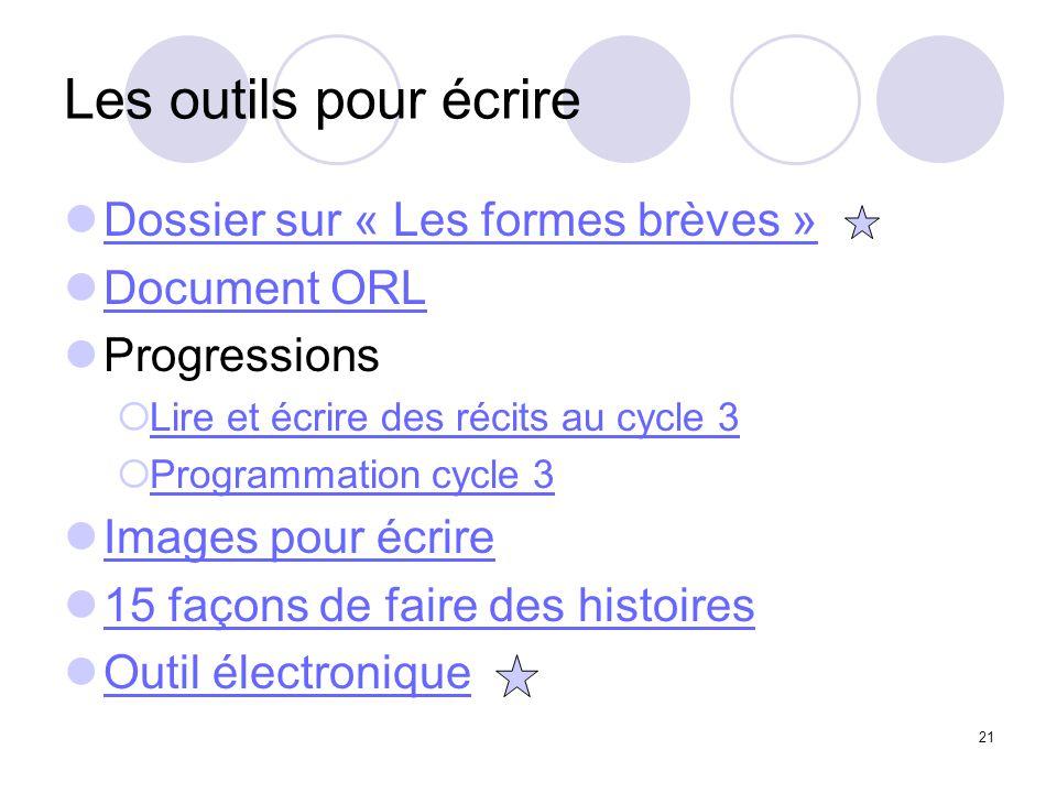 21 Les outils pour écrire Dossier sur « Les formes brèves » Document ORL Progressions Lire et écrire des récits au cycle 3 Programmation cycle 3 Image