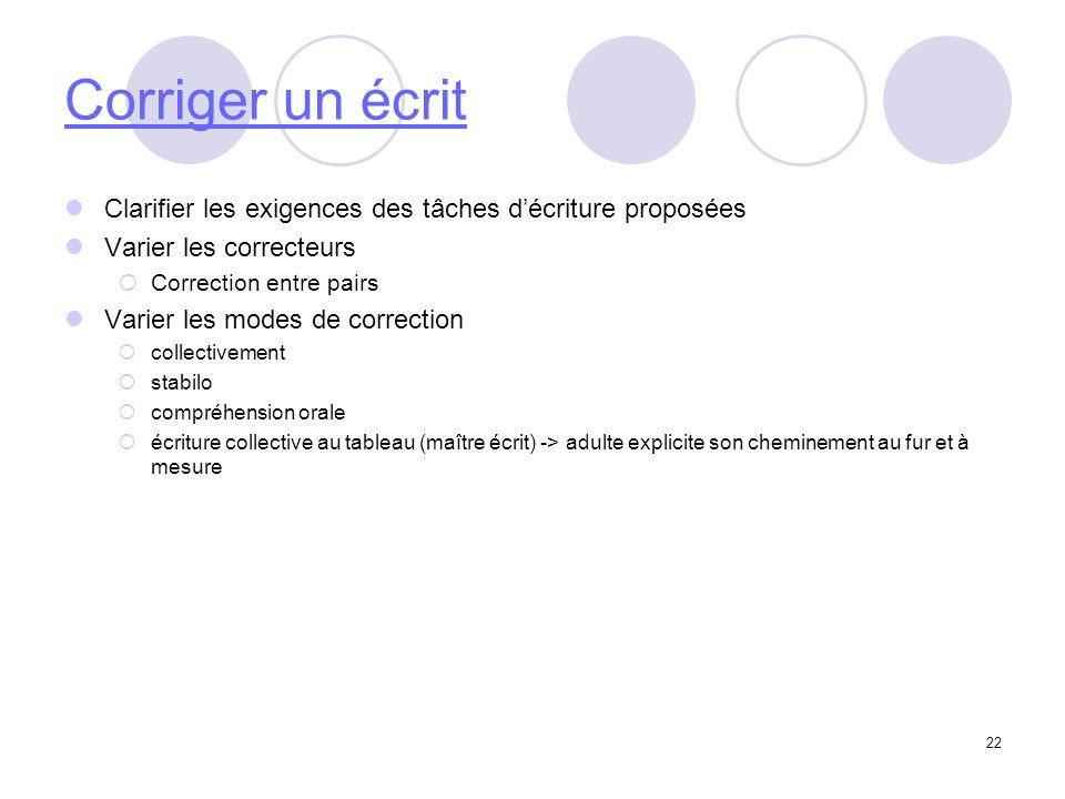 22 Corriger un écrit Clarifier les exigences des tâches décriture proposées Varier les correcteurs Correction entre pairs Varier les modes de correcti